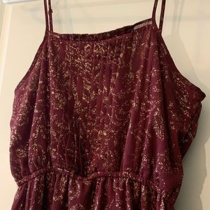 Charming Charlie maroon and gold dress
